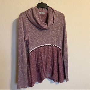 Maurices Maroon Fuzzy Soft Cowl Neck Sweater